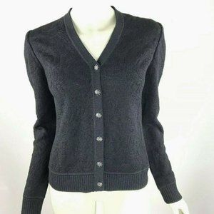 St John Collection Marie Gray Button-Down Cardigan